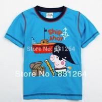 Free Shipping New 2015 Cute Kid Boy Summer Peppa Pig Print Short Sleelve Cotton Clothes Children Boy Cartoon T-shirt 2-6Year