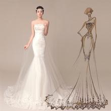 2014 sereia strapless vestido de noiva custom made vestidos de noiva baratos da China plus size vestido de noiva renda(China (Mainland))