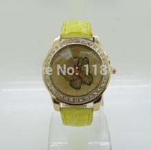 W5 LZ Jewelry Hut Wholesale Fashion 10 Colors Leather Rhinestone Butterfly Women Dress Watches