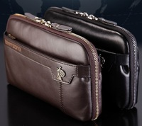 Hot Fashion Business Men Handbag 100% First Layer Of Cow Skin Genuine Leather Casual Man May Clutch Bag 3216