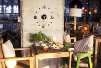 Funlife Free Shipping DIY Size 43x43cm Fashion Art Acrylic Style Coffee and Tea Wall Clocks Decoration wc1020b