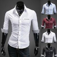 Mens Fashion Slim Fit Dress Man Half Sleeve Casual Button Down Shirt 3Color Option M,L,XL,XXL