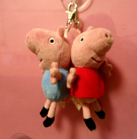 Peppa Pig And George Plush TY Beanie Keyring Soft 12cm Toys Key Ring 50pcs Free shipping