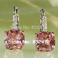 Elegant Pink Topaz  Dangle Hook 925 Silver Earring Free Shipping E-003