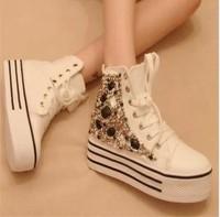 Women's fashion rhinestone rivet platform high ankle shoes women ladies casual canvas shoes sneakers
