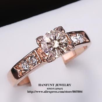 R051 Классические хрустальные Кольцо 18K K позолоченный Обручальное кольцо Сделано ...