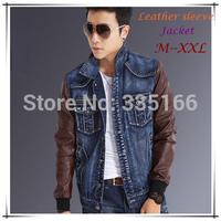 HOT Mens Denim Jacket Light Blue/Dark Blue M--XXL,Slim Vintage Patchwork Jeans Coat With Leather Sleeves #JM09470--Free Shipping