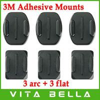 6 pcs/lot 3M Adhesive Mount for GoPro Hero,Hero2,Hero3, 3 Arc Base with 3M + 3 Flat Base with 3M, Helmet Mounts, Surfboard Mount