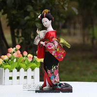 Free shipping Hand-made 32cm Resin craft Beautiful Japanese Geisha Japanese silk dolls Home Decration