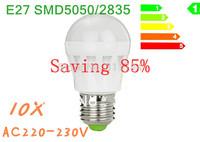 10x top/high brightness lampada led e27 E26 SMD 2835/5W 7W 12W AC220V 230V 240V Cold white/warm white free shipping