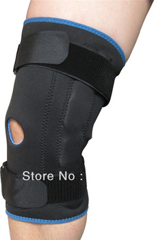 Free shipping Neoprene Knee Hinged Support Dual Action Leg Sleeve Stabilizing Brace Open Patella Protector Stabilizer Black+2PCS