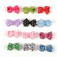 Many Colors Toddler Girls Boutique Polka  Hair Bow   With  Clip Wholesale Free Shipping
