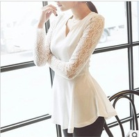 2013 new han edition cultivate one's morality show thin v-neck lace long sleeve chiffon unlined upper garment long coat