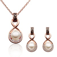 Hot Sell jewelry sets Costume Necklace And Earrings Set Luxurious 18K Real Gold Plated Pearl Engagement Set