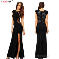 XXL Women's Fashion Lace & Knitting Patchwork Solid Black Slim Slit Open Long Dress Sexy Party Maxi Dress E1320 35M