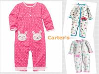 1pcs/lot Carters Baby bodysuit, long sleeve rompers cartoon rabbit, baby boys girls sleepwear, autumn jumpsuit, infant overalls