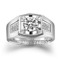 Free Shiping 18K Gold Men's Ring of 1 Carat Lab Grown Moissanite Diamond with Real Diamonds Ring for Men's Wedding Bands