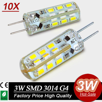 10x  Free Shipping High Power SMD3014 3W 12V G4 LED Lamp Replace 30W halogen lamp 360 Beam Angle LED Bulb lamp warranty