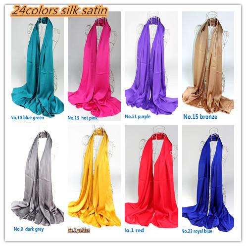 Retail 20 colors newest silk satin shawls/scarf, muslim shawls, free shipping 6606(China (Mainland))