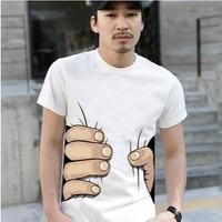 Summer Fashion Men's Clothing O-neck Short Sleeve Men Shirt,hot Sale 3d Big Hand T Shirt,mens T Shirts Fashion 2014