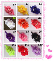 2Pcs/Lot  Baby Girls Chiffon Headbands Kids Props Head Band Scarf Rose Pearl Flower Headbands Infant Hair Accessory Headwear