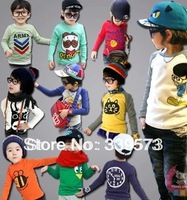 2013 new kids clothes 1~10 Age boys girls t shirt Multicolor optional Children clothing t shirts free ship Long sleeve t-shirt