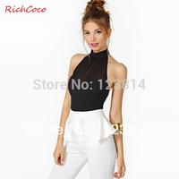 Autumn Summer Women Tank Top Black Chiffon Patchwork Zipper High Collar Halter Neck Sleeveless Spandex Hollow Out Sexy Top D207