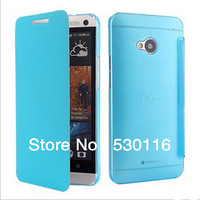 MOQ:1PCS New&Elegant Flip PU Microfiber Leather +Ultrathin Hard PC Front Back Hybrid Case For HTC One M7