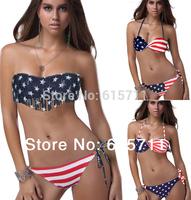 Free Shipping 2014 Summer Lady Push-up Padded USA Bikinis Swimwear BOHO American Flag Fringe Tassel Bandage Swimsuit