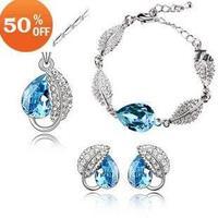 Wholesale Fashion 18K white gold plated austrian crystal female pendant necklace+earring+bracelet jewelry set