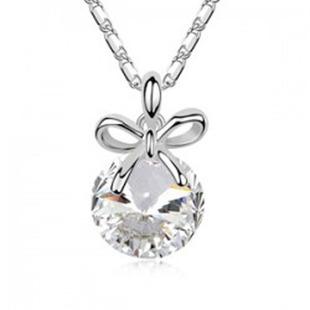 18K white gold plated austrian crystal fashion honey pendants women unique necklaces