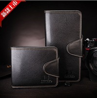 Free Shipping!2013 new promotion hot sale Men's genuine leather  wallet male leather lines purse/wallet  C387