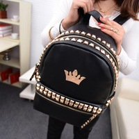 2014 new fashion Backpacks for womens summer crown rivets backpack Backpack School Bag