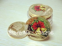 Free shipping wholeslae 5 pcs/lot 1OZ .999 fine Gold Merry Christmas Decoration Bells Gold Plated Souvenir Ornament Gift Coins