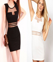 Free Shipping Perspectivity Gauze Fashion Sexy Low-cut Slim Hip One-piece Dress O-Neck Tank Bandage Mini Dress Black White