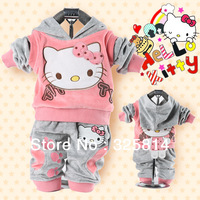 Clearance Price Baby 2Piece Coat+Pants Suits Fleeces Girl's Hello Kitty Clothing Sets Velvet Sport Suits Hoody Free Shipping