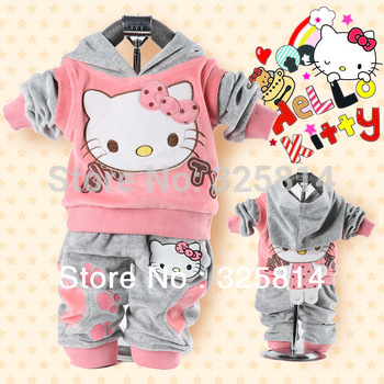 Wholesale Price Baby 2Piece Coat+Pants Suits Fleeces Girl's Hello Kitty Clothing Sets Velvet Sport Suits Hoody Free Shipping