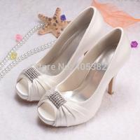 Customize Color Europe Thick Heel Celebrity Wedding Bridal Shoes Ivory Satin Peep Toe Free Shipping