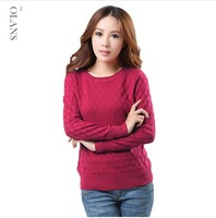 2013 Autumn Slim Round Neck Sweater, Pullover Wool Sweater Female Free Shipping