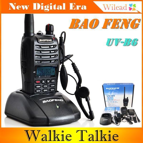 BAOFENG UV-B6 Walkie Talkie Long Range 5W 99CH UHF 400-470MHz+VHF136-174MHz Portable Two Way CB Radio FM Professional Item(China (Mainland))