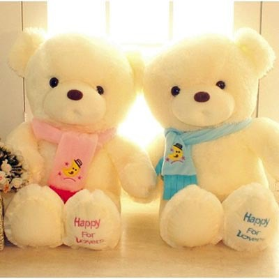 11.8inch 30cm Plush Teddy Bear Toy With Scarf Happy For Lover 1 pair/lot Stuffed Bear Toy For Valentine's Day Gift(China (Mainland))