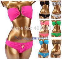 Bikini Swimwear push up Women 2014 new Swimsuit  Drop Shipping Sexy black blue rose red green white green pink
