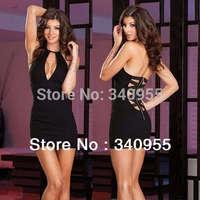 utumn -summer Top Fashion Sexy Club Dress, Women Deep O-Neck Open back Halter Back Cross Straps Sheath Mini Dress