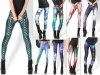 2013 Women Sexy Hot  AURORA SKYE HEX COLOUR Rainbow Cloud Black Green  Muscle Mermaid Leggings Space printed pants Sale