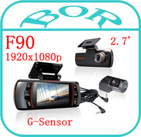 FREE SHIPPING Allwinner CPU F90 Dual Lens Car DVR w/G-Sensor Full HD 1920x1080p 20FPS 2.7' LCD/HDMI/External IR Rear Camera
