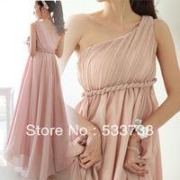 Custom Made 2013 Hot Sale Women Chiffon Long One Shoulder Elegant Prom Dress Evening Dresses
