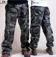 New 2013 Hot Baggy Camouflage Cargo pants Men and Women Couples Side Pocket Plus Size army Military Outdoors XL XXXL Khaki Pants