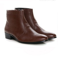 Free Shipping, Winter Boots Male Genuine Leather, Cotton Shoes, England, Trend High-top, Korean, Fashion, Men's Boots P8629