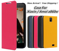 New 2014 items ! PU Leather Case For Xiaxin Amoi a860w.Protective Case Mobile Phone Holster.Free Shipping + Gift!
