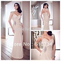 E0845 Beaded Cap Sleeve Mermaid Ruffle Nude Vestidos De Chiffon Long Party Dresses Evening